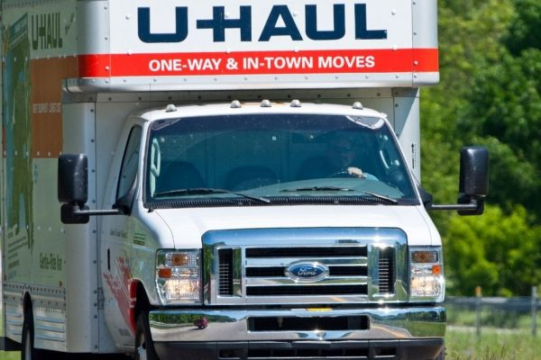 Frontal view of a U-Haul box truck